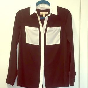 Michael Kors Black and White Button Up Shirt